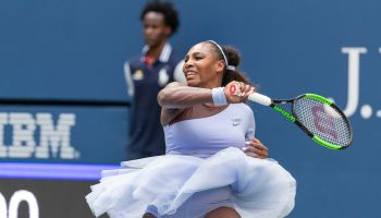 Serena Williams of USA returns ball during US Open 2018 4th...